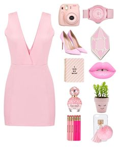 """""""Pretty In all Pinks"""" by babygirlalien ❤ liked on Polyvore featuring Gianvito Rossi, ban.do, Big Bud Press, Marc Jacobs, New Look, Ashlyn'd, Fujifilm and Skechers"""