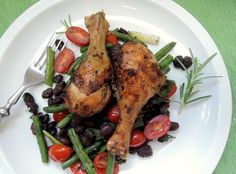 The Briny Lemon: Grilled Rosemary Drumsticks with Tomato and Bean Medley