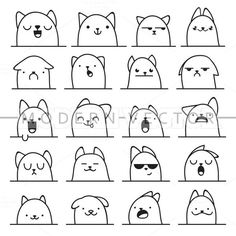 Set of 20 different doodle emotions cat. Smile for design. bewilderment # Cats anime Set 20 Different Doodle Emotions Cat Stock Vector (Royalty Free) 307104881 Funny Drawings, Doodle Drawings, Easy Drawings, Doodle Art, Flower Drawings, Kawaii Doodles, Cute Doodles, Funny Doodles, Doodle Inspiration