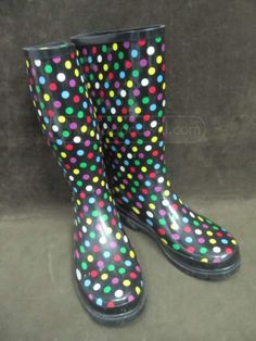 shopgoodwill.com: TOTES SIZE 8 POLKA DOT RAIN BOOTS