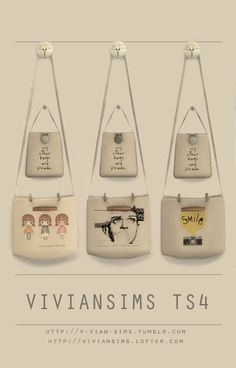 Bags on the wall at v-vian-sims via Sims 4 Updates