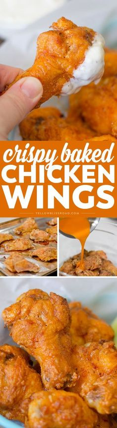 BEST EVER Crispy Baked Chicken Wings coated with spicy buffalo sauce. A family favorite for dinner or a game day appetizer favorite for a crowd!