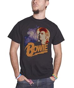 David Bowie Retro Bowie logo ziggy new Official Mens Black T Shirt all sizes David Bowie