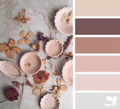 ...blush, mauve, hint of pale grey blue with taupe or brown...