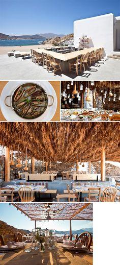 O Alemàgou é um bar e restaurante com clima ótimo, música tranquila, mood relax e comida deliciosa na praia de Ftelia, em Mykonos.