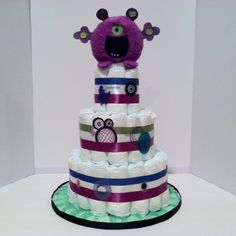 Monster Diaper Cake by VeraMaeCollection on Etsy $47.95