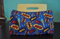 SWOON Coraline Clutch Handbag with Top Handles in Comic Book