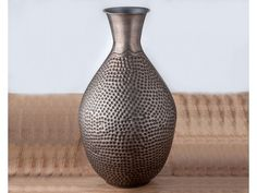 Hammered Patterned Iron Zinc Vase