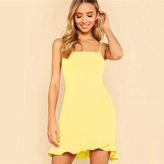 SHEIN Yellow Party Sexy Ruffle Hem Solid Asymmetrical Drop Waist Cami  Sheath Dress Summer Women Going Out Dresses 267776af8511