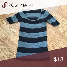 Express striped top - black and grey Express striped top with ruching near neckline.  Sleeves come down to just above elbow Express Tops Tees - Short Sleeve