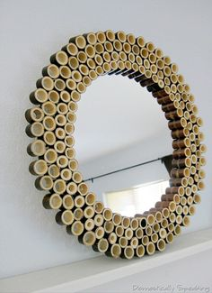Make a bamboo sunburst mirror using bamboo fencing. It's an easy DIY project using bamboo pieces, a craft mirror and glue. Bamboo Mirror, Bamboo Art, Bamboo Crafts, Bamboo Ideas, Black Bamboo, Diy Décoration, Easy Diy, Diy Crafts, Bamboo House Design