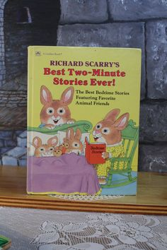 Richard Scarry's Best Two - Minute Stories Ever Bedtime stories Golden Book 1989 Hardcover picture children's book Vintage collectible Book Illustrations, Children's Book Illustration, Good Bedtime Stories, Richard Scarry, Vintage Children's Books, Childrens Books, Illustrator, Handmade, Animals