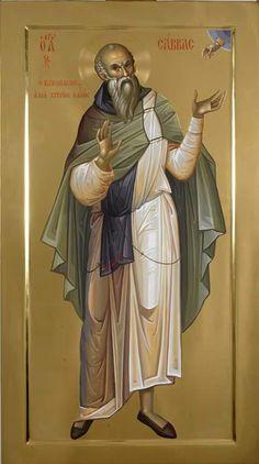 Saint Sabbas the Sanctified - Romanian Iconographer Fr. Byzantine Icons, Byzantine Art, Religious Icons, Religious Art, Church Icon, Paint Icon, Russian Icons, Marc Chagall, Catholic Art