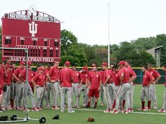 Indiana university baseball | The Indiana University baseball team chats after practice, and is ...