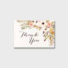 Rustic Floral Thank You Card Shower Thank You Note Wedding Thank You Card Birthday Thank You Note Boho Thank You Note 4x6 Instant Download by MossAndTwigPrints on Etsy