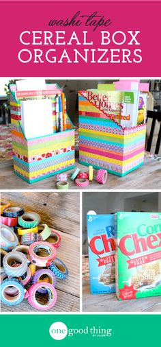 Create these clever storage boxes out of old cereal boxes. A fun and functional use for all that washi tape you have cluttering up your craft closet!