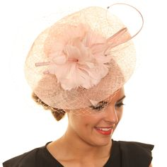 Wedding Fascinator Hat - Flower Net Disc Sinamay #crystalbridalaccessories #floralhat #nude #hat
