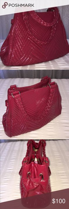 Cole Haan XL Laury Tote Ruby Sugar/ Raspberry Quilted Patent Leather XL Square Shopper. Hobo Style with Braided Double Shoulder Strap. Top Button Closure with 2 Large Zipper Compartments Inside & Pockets. In GREAT Condition & Stunning Color. Cole Haan Bags Totes