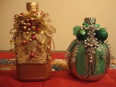 most popular decorated wine bottle Christmas Crafts, Christmas Ornaments, Glass Art, Holiday Decor, Handmade, Wine Bottles, Home Decor, Scale, 1