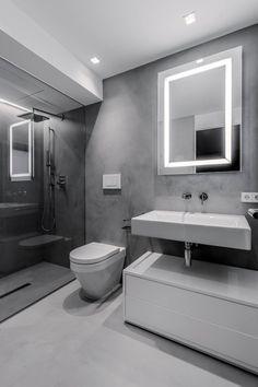 moderner Bad Spiegel mit LED Beleuchtung in Grau und Weiß