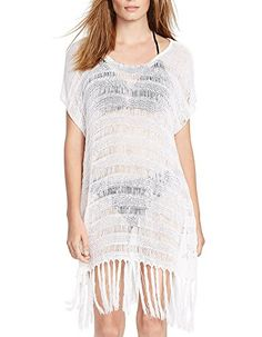 Cfanny Women's Crochet Poncho Beach Cover Up Free Size $15.99