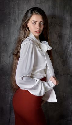 Sexy Blouse, Bow Blouse, Blouse And Skirt, Ruffle Blouse, Satin Blouses, Shirt Blouses, White Blouse With Bow, Attractive Girls, Office Fashion