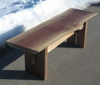 Live Edge Walnut Bench with wood harvested  in MI. SOLD! Call for custom orders.  Bench, live edge, coffee table.