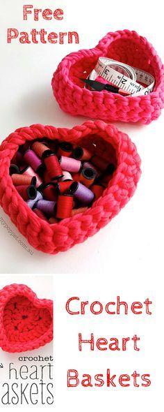 Free Crochet Heart Baskets Pattern for Storage - 101 #Crochet