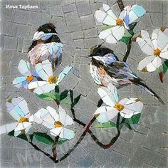 Birds and blooms Pebble Mosaic, Stone Mosaic, Mosaic Wall, Mosaic Glass, Mosaic Animals, Mosaic Birds, Mosaic Flowers, Mosaic Crafts, Mosaic Projects