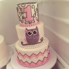 Owl chevron pink and grey cake. For a first birthday, cute theme for baby shower too! Cake by Shandi Cakes 11th Birthday, Girl First Birthday, Baby Birthday, First Birthday Parties, First Birthdays, Birthday Cake, Birthday Ideas, Owl Cakes, Cupcake Cakes
