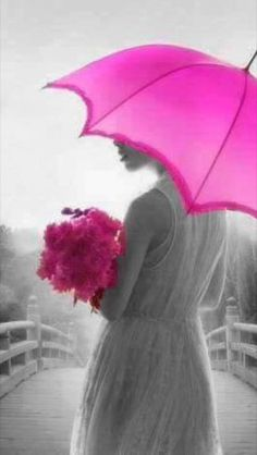 Grey weather? Pink umbrella and pink flowers!
