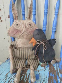 Primitive Grungy Folk Art Harvey Rabbit & by OldeAtticPrims
