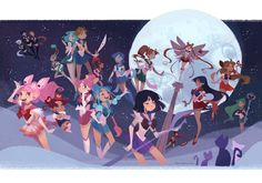 """03/19/16 I am definitely enjoying this art style. Which soldier is you favorite in this picture? I like Venus' pose.  ★ Sailor Saturn ★  """"Sailor Soilders"""" by Ann Marcellino https://www.facebook.com/annmarcellinoart/"""