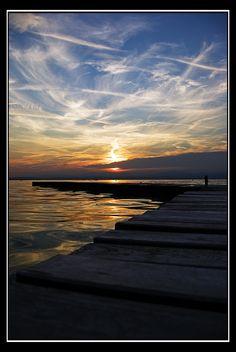 Sunset over the lake. Lago di Garda? Italy