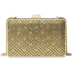 Michael Michael Kors Pearl Medium Box Clutch ($71) ❤ liked on Polyvore featuring bags, handbags, clutches, gold, metallic box clutch, brown purse, metallic handbags, pearl purse and metallic clutches