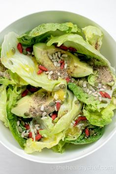Detox Energy Salad! Greens, avocado, pumpkin seeds, sunflower seeds, walnuts, goji berries or pomegranate seeds, ground flax seed. Can add fish,egg or chicken for protein boost. Nmmmm....