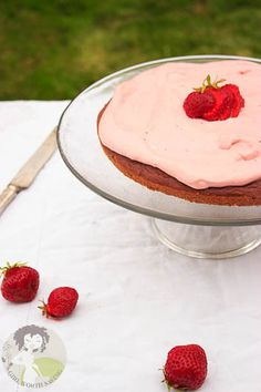 Paleo Strawberry Cake - this was so moist and delicious, a perfect spring dessert. We ended up with only enough strawberry sauce for the cake, so we made a blueberry sauce for the icing. We also doubled the amount of cream cheese in the icing.