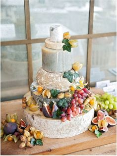 cheese table that looks like a cake  cheese wedding cake for my cocktail. i am obsessed with this idea.