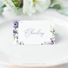 Purple Place Cards, Wedding Templates, Printable Guest Name Cards, Wedding Place Cards template, Purple Floral Place Cards, SUZY by DIYPaperPrints on Etsy