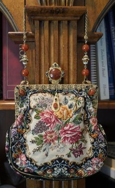 Antique Floral Petit Point Purse w Outstanding Stand Up Jeweled Frame | eBay