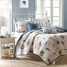 Seashell Beach House Nautical Full / Queen Quilt, Shams & Toss Pillows (6 Piece Bedding)