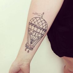This with a small ship tied to it! Hair Tattoos, Sister Tattoos, Love Tattoos, Tattoo You, Body Art Tattoos, Small Tattoos, Air Balloon Tattoo, Surreal Tattoo, Tattoo Portfolio