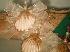 Ivory and Crystal Shell Ornaments