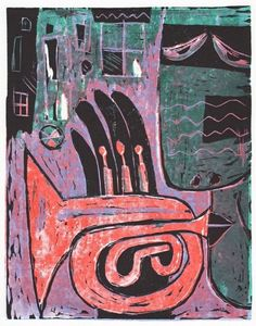 Red trumpet - Jindřich Pevný, 2012, linocut, 21 x 16,3 cm, limited edition of 10 prints, art prints