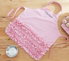 Pink Ruffle Gingham Apron #pbkids from Pottery Barn Kids