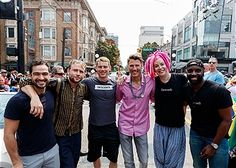 Netflix's Sense8 cast members Alfonso Herrera, Max Riemelt, Brian J. Smith, City of Vancouver Mayor Gregor Robertson, creator Lana Wachowski and Toby Onwumere attend Vancouver Pride Parade on August 6, 2017 in Vancouver, Canada.