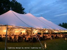 Ribbons of twinkle lights make this gorgeous sailcloth tent in Williamstown glow with life. Lighting design by Seitel Lighting LLC. Wedding Tent Lighting, Tent Wedding, Twinkle Lights, Twinkle Twinkle, Sailing Outfit, Glamping, Lighting Design, Ribbons, Glow