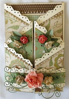 This card unfolds in a creative way! It used products from the new Take Note collection from KaiserCraft. Designed by Cathy McGrath.