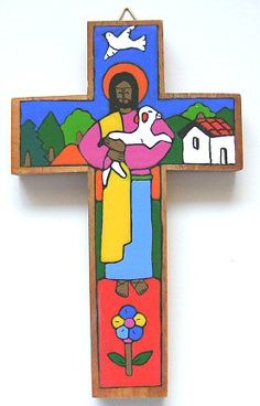 Our hand painted wood crosses are produced by a wonderful co operative in latin america which helps to support local artisans and their children