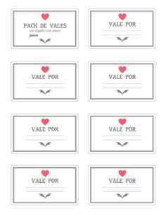 Imprimible: vales para san valentín | Mi Low Cost